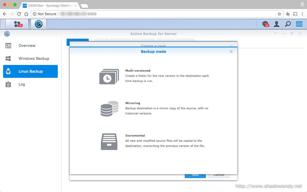 Synology Active Backup for Server - Setting up Active Backup
